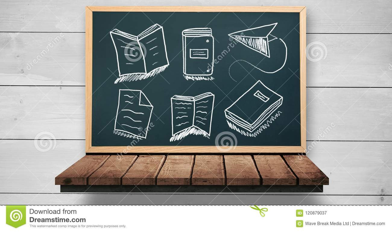 note with folders and books education drawing on blackboard for
