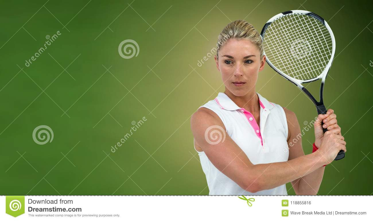 Tennis Player Woman With Green Background With Racket Stock Photo