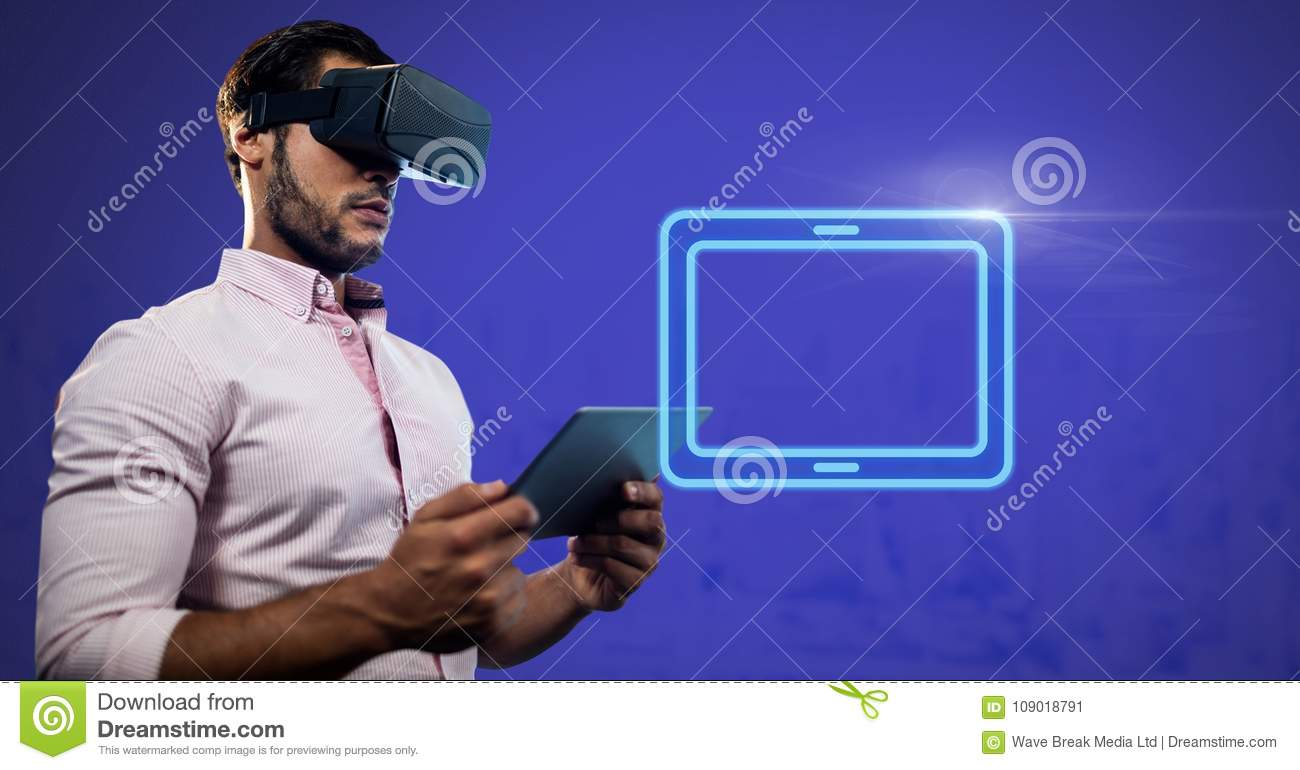 Virtual Reality Headset on man holding tablet with electric tablet rectangular icon
