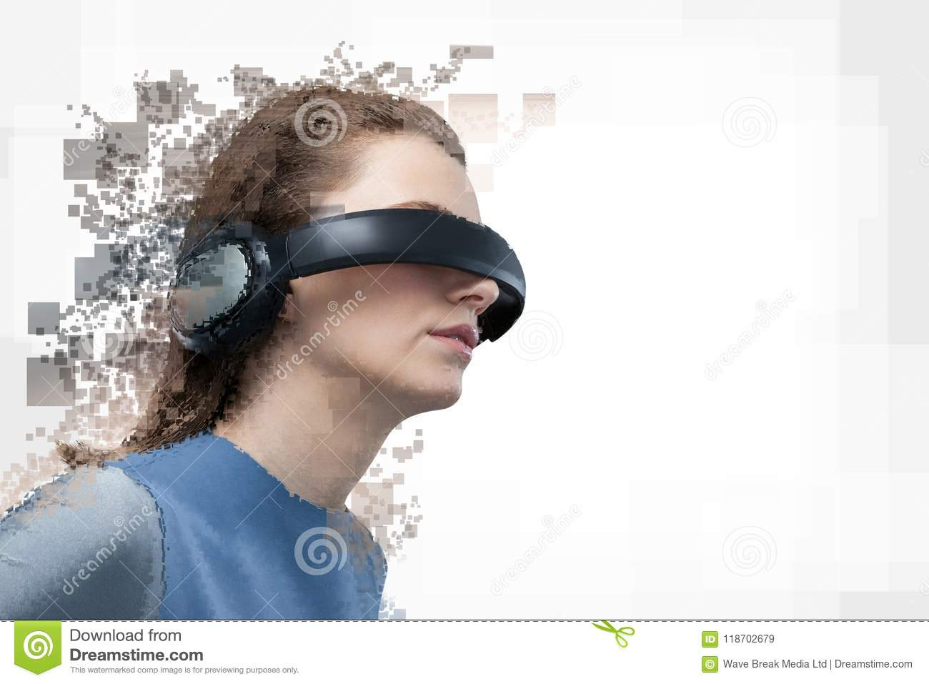 5f2ebc38a98 Digital Composite Of Woman With A Virtual Reality Simulator Stock ...