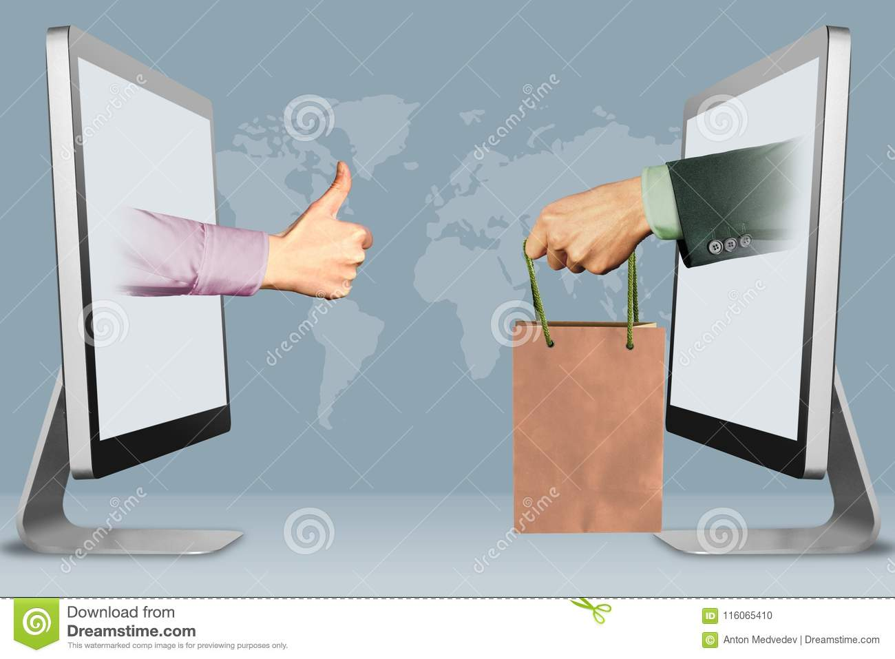 Online Concept, Two Hands From Laptops  Thumbs Up, Like And