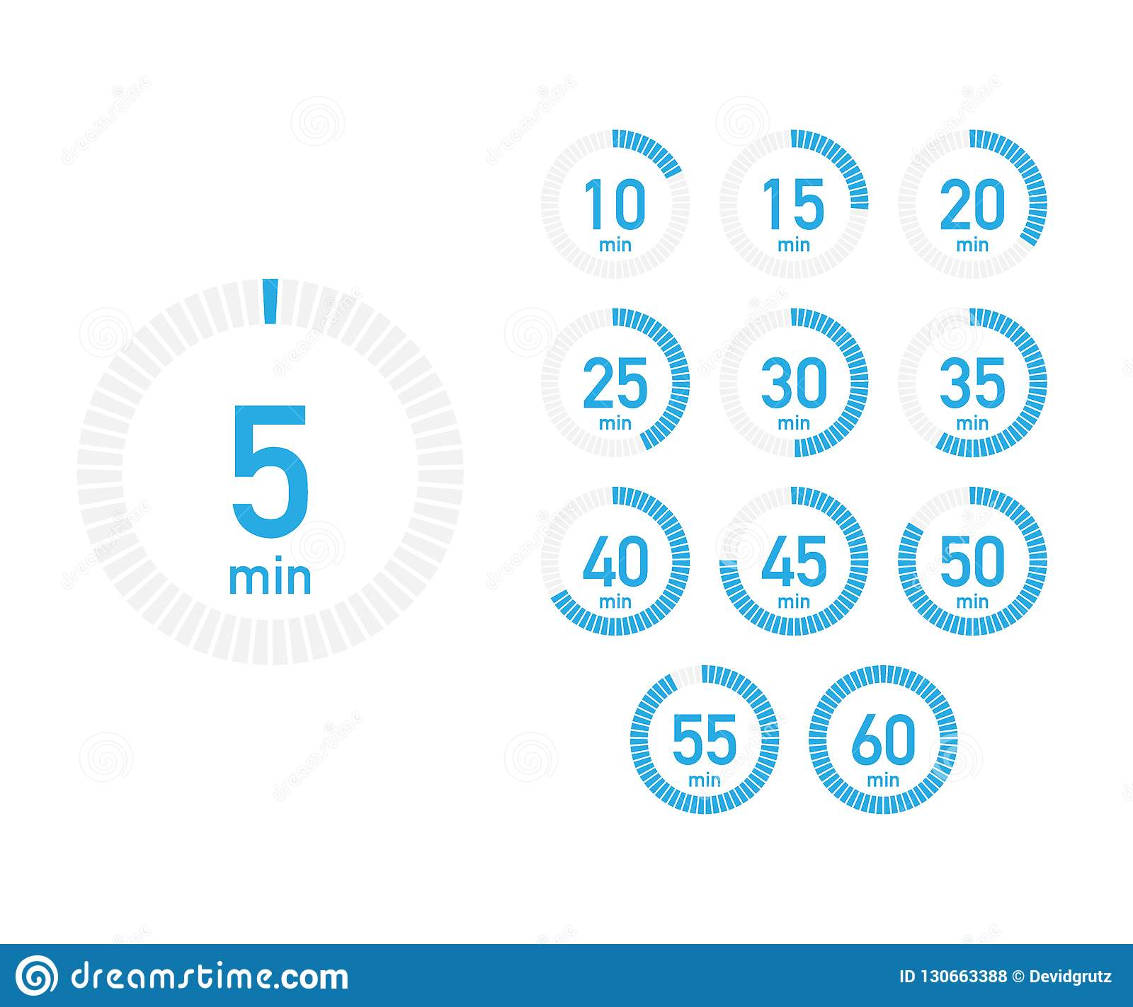 digital countdown timer with five minutes interval in modern style  set of 12 timer icons