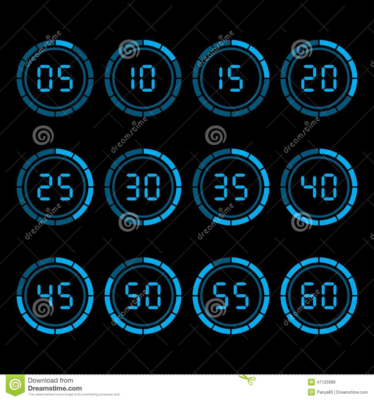 digital countdown timer with five minutes interval stock vector