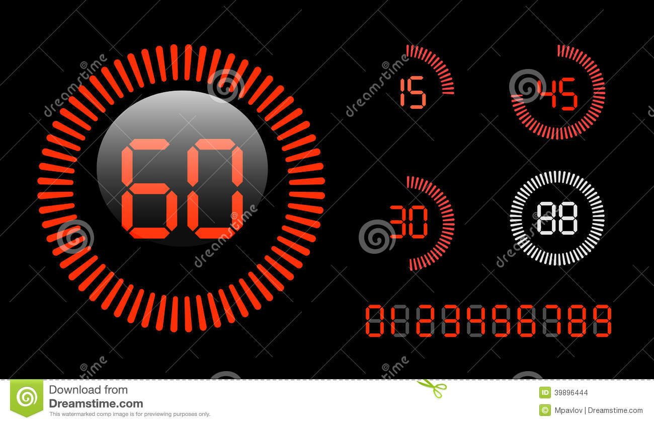 digital countdown timer stock vector