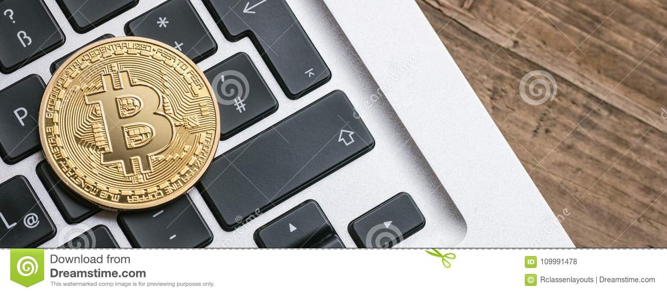 Digital cryptocurrency Bitcoin on a Notebook