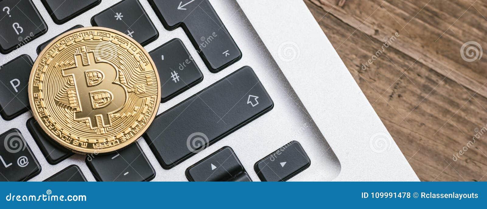 Digital cryptocurrency Bitcoin på en anteckningsbok