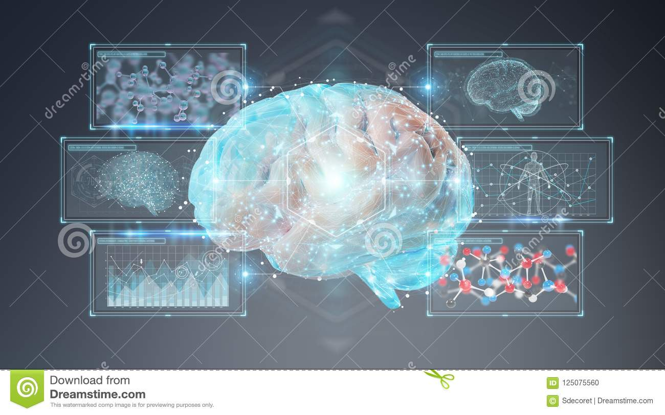 Digital 3D Projection Of A Human Brain 3D Rendering Stock