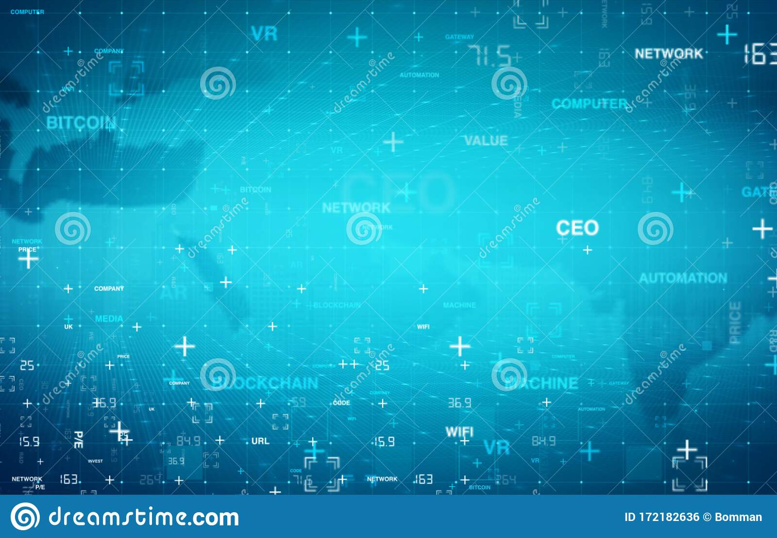 Digital Data Grid Technology Background Stock Illustration