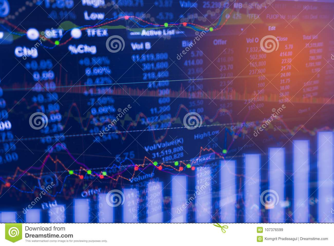 Digital data indicator analysis on financial market trade chart on LED. Concept Stock data trade.
