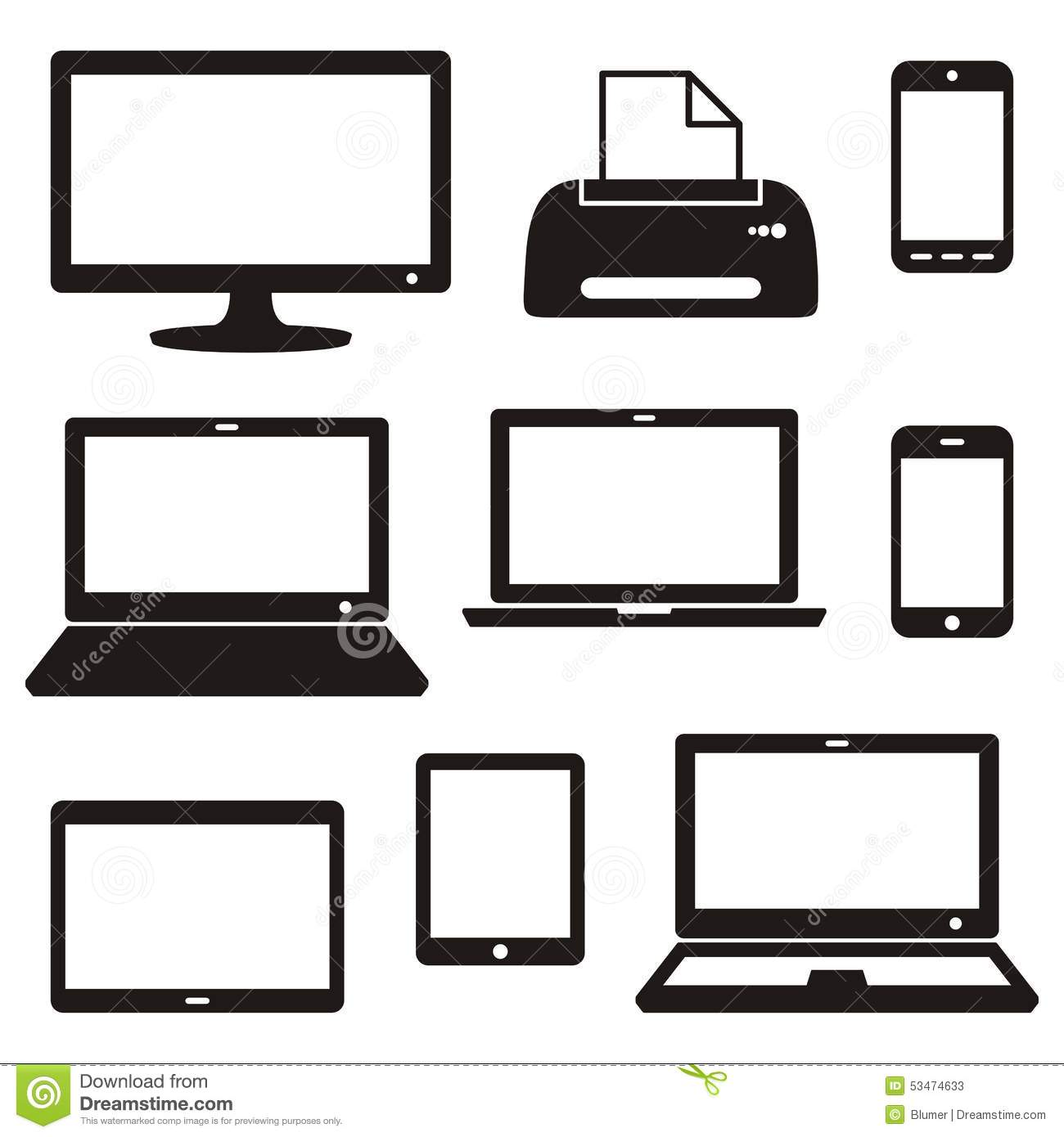 Digital Device Icons Stock Vector - Image: 53474633
