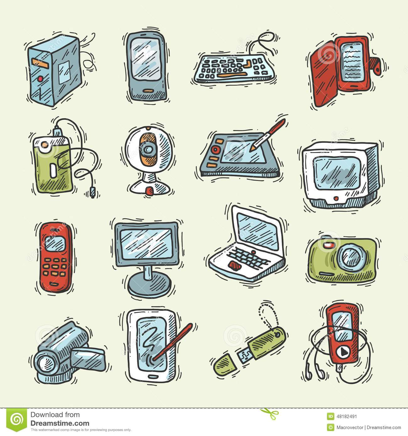 Digital Device Icons Stock Vector - Image: 53474817