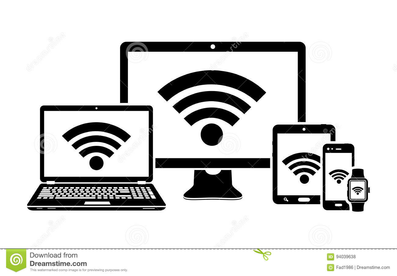 Computer display laptop tablet and smartphone icons with wifi digital devices with wifi internet connection symbol royalty free stock photos biocorpaavc