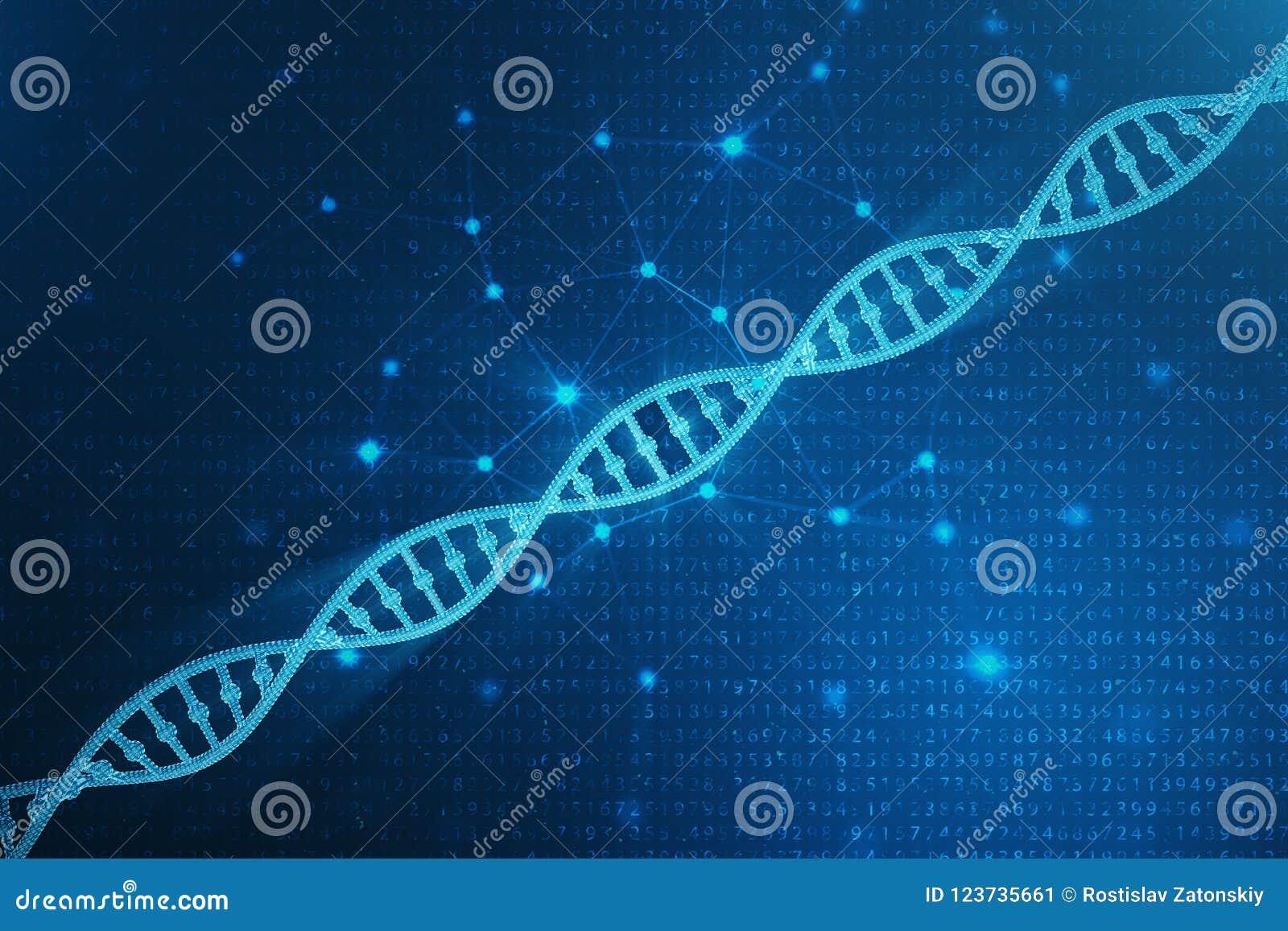Digital DNAmolekyl, struktur Genom för binär kod för begrepp mänsklig DNAmolekyl med ändrade gener illustration 3d