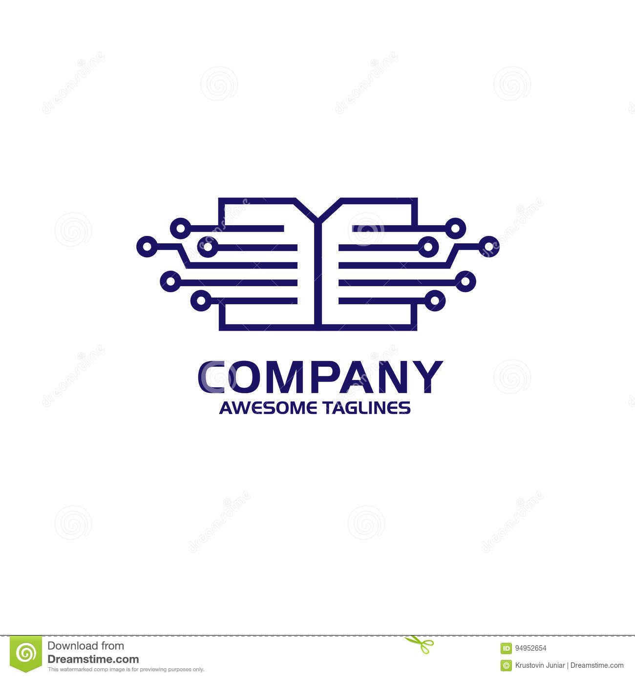 Digital Document Digital Book Logo Concept Stock Vector