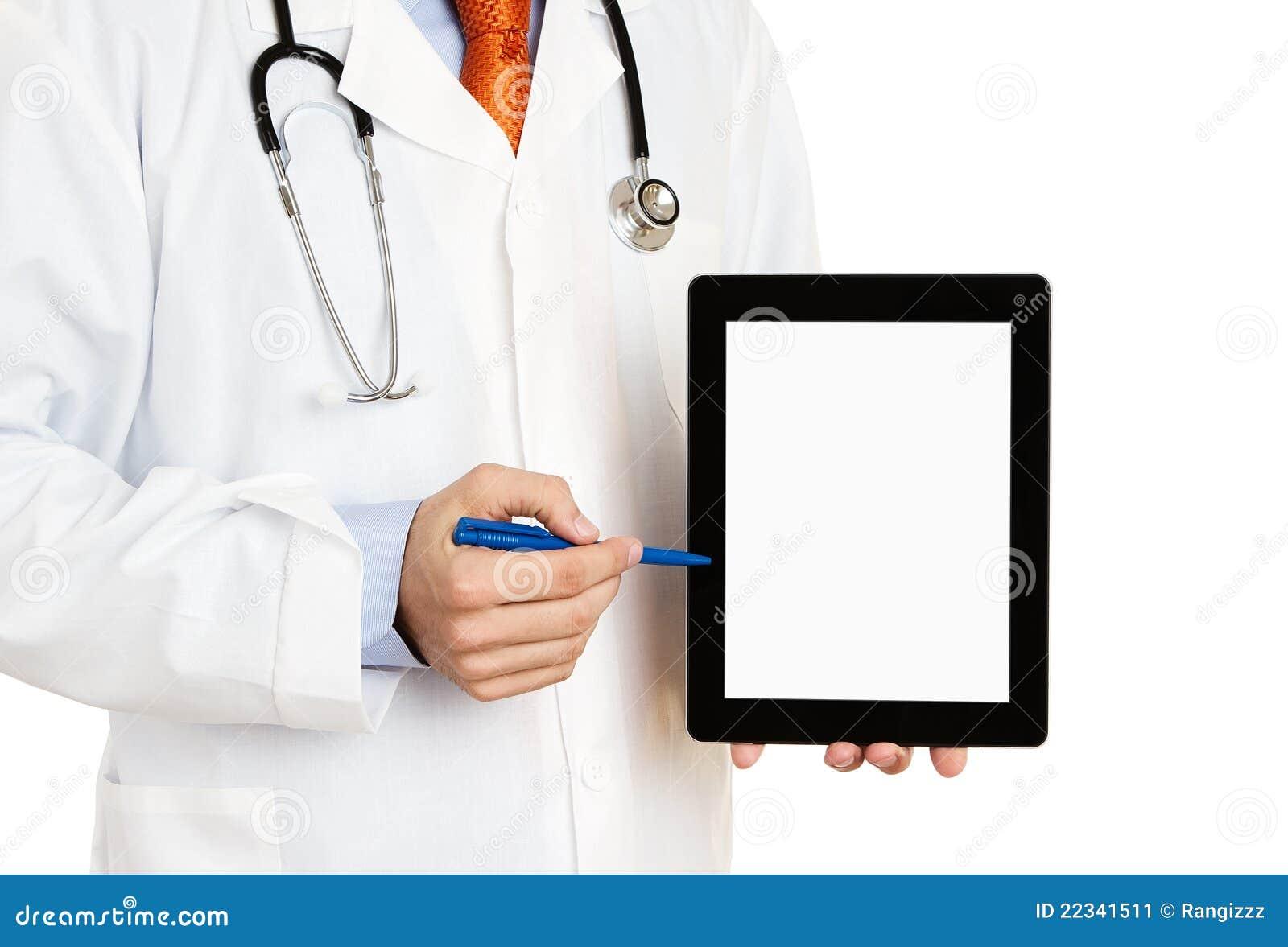 Digital doktor som pekar tableten