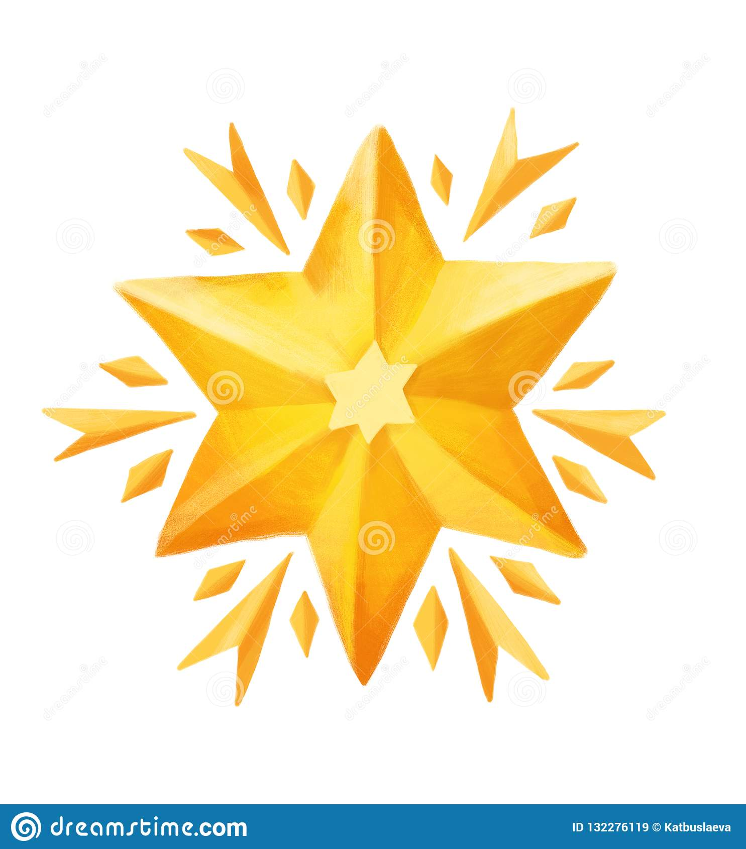 Christmas Scene Drawing For Kids.Golden Christmas Star Drawing In Kids Style For Greeting