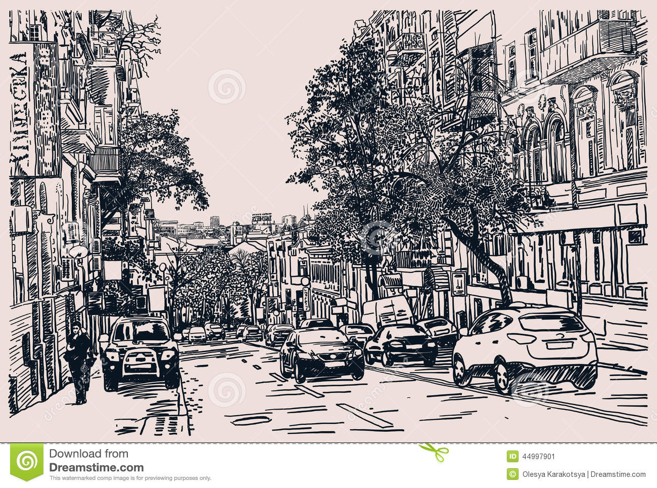 Digital Drawing Of City Traffic, Engraving Style Stock Vector ...