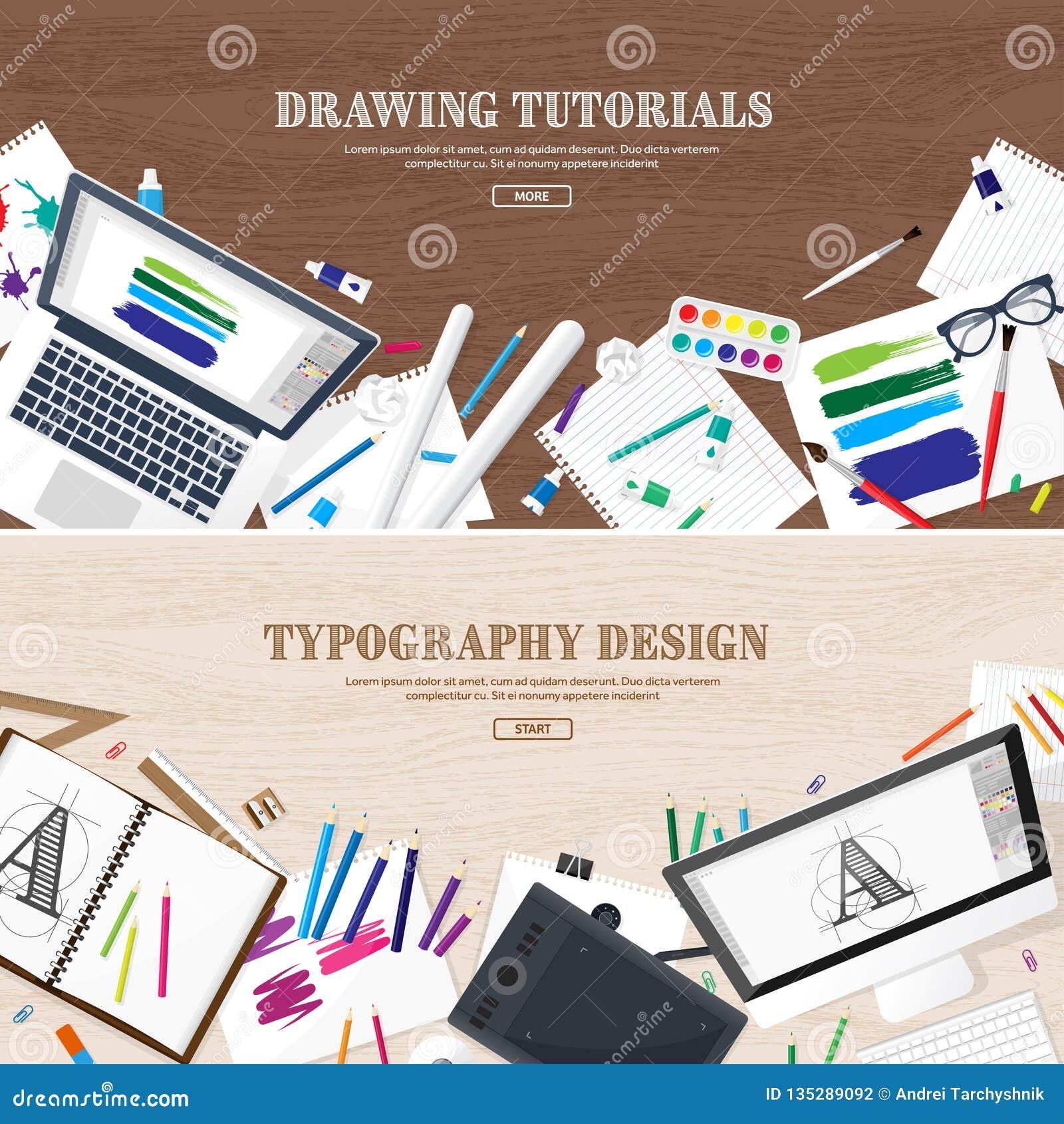 Digital Drawing Graphic Design Workplace Equipment For Designer Ui Back To School Study Pen Stock Vector Illustration Of Freelance Internet 135289092