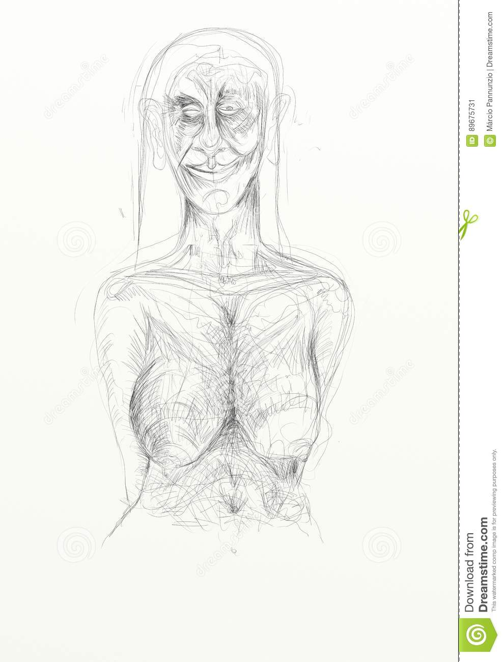 Digital drawing pencil vertical format depicting naked human figures melancholy lonely