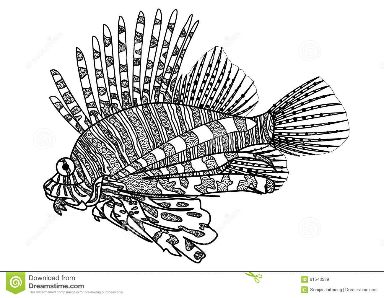 Coloring book for adults lion - Digital Drawing Zentangle Lion Fish For Coloring Book Tattoo Shirt Design Royalty Free Stock