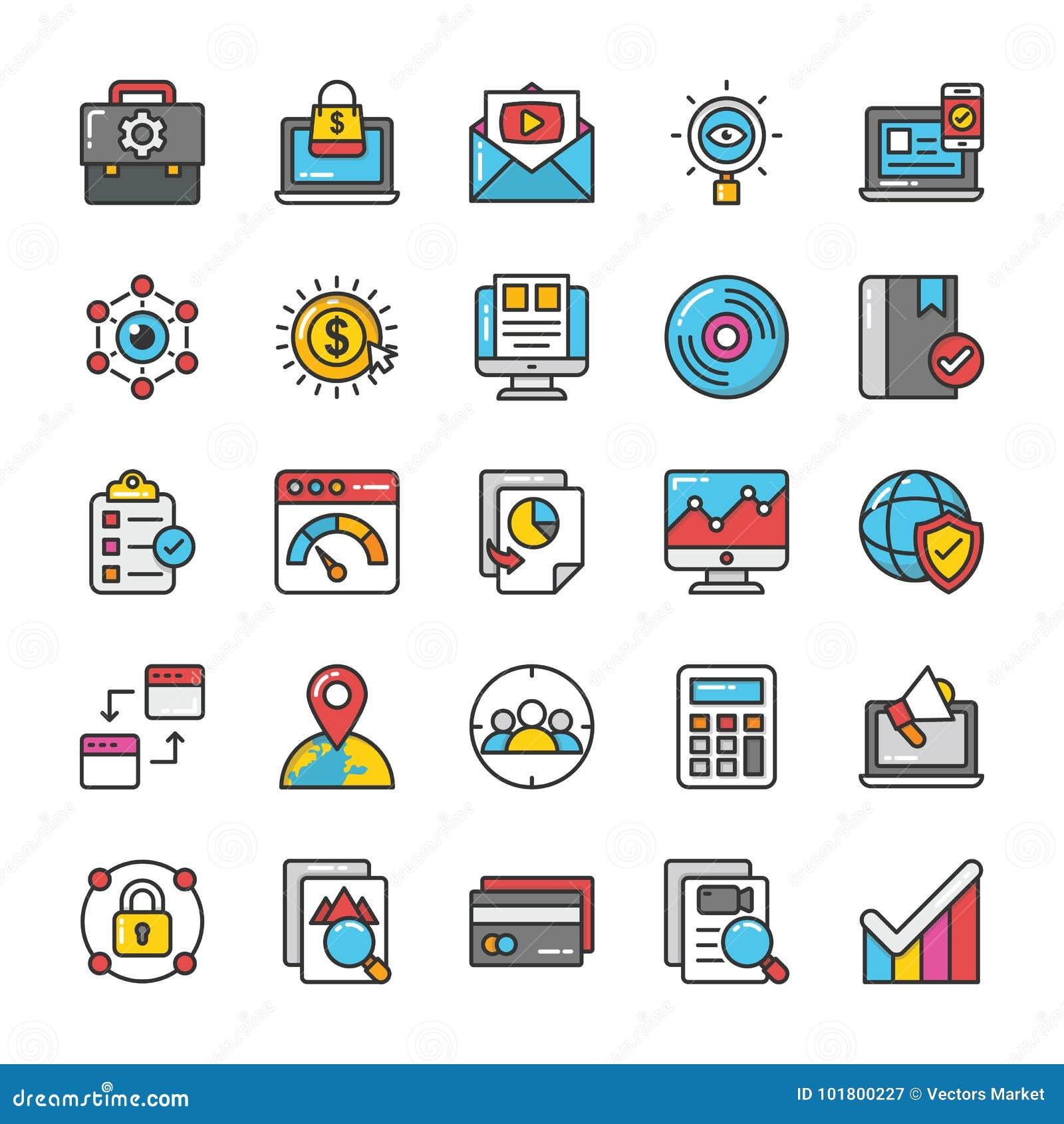 Digital e le icone di vettore di vendita di Internet hanno messo 5