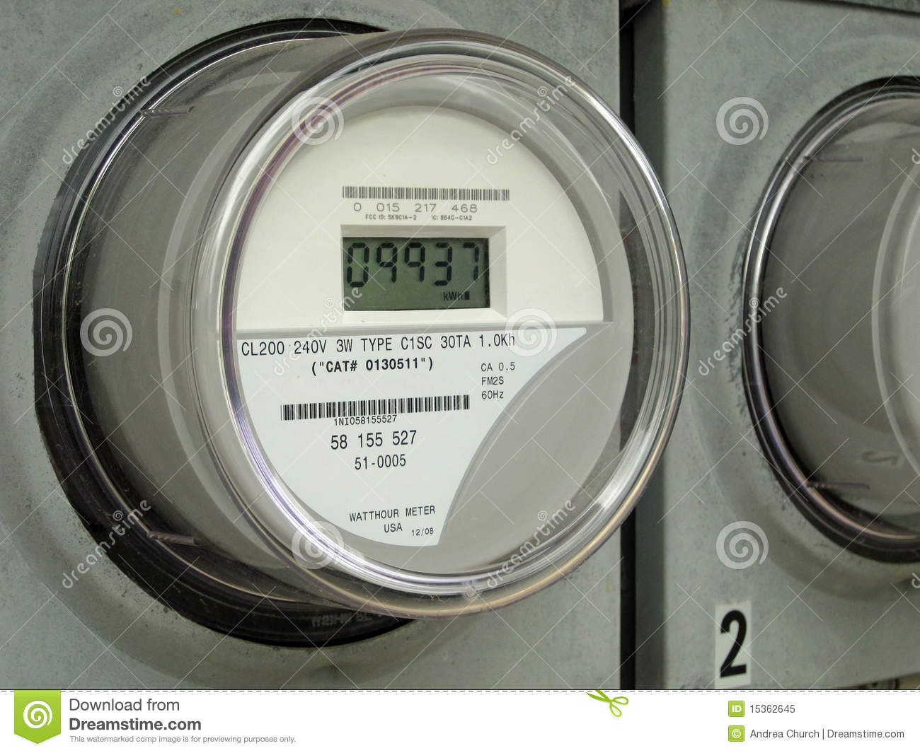 Electronic Electric Meter : Digital electric meter stock image of
