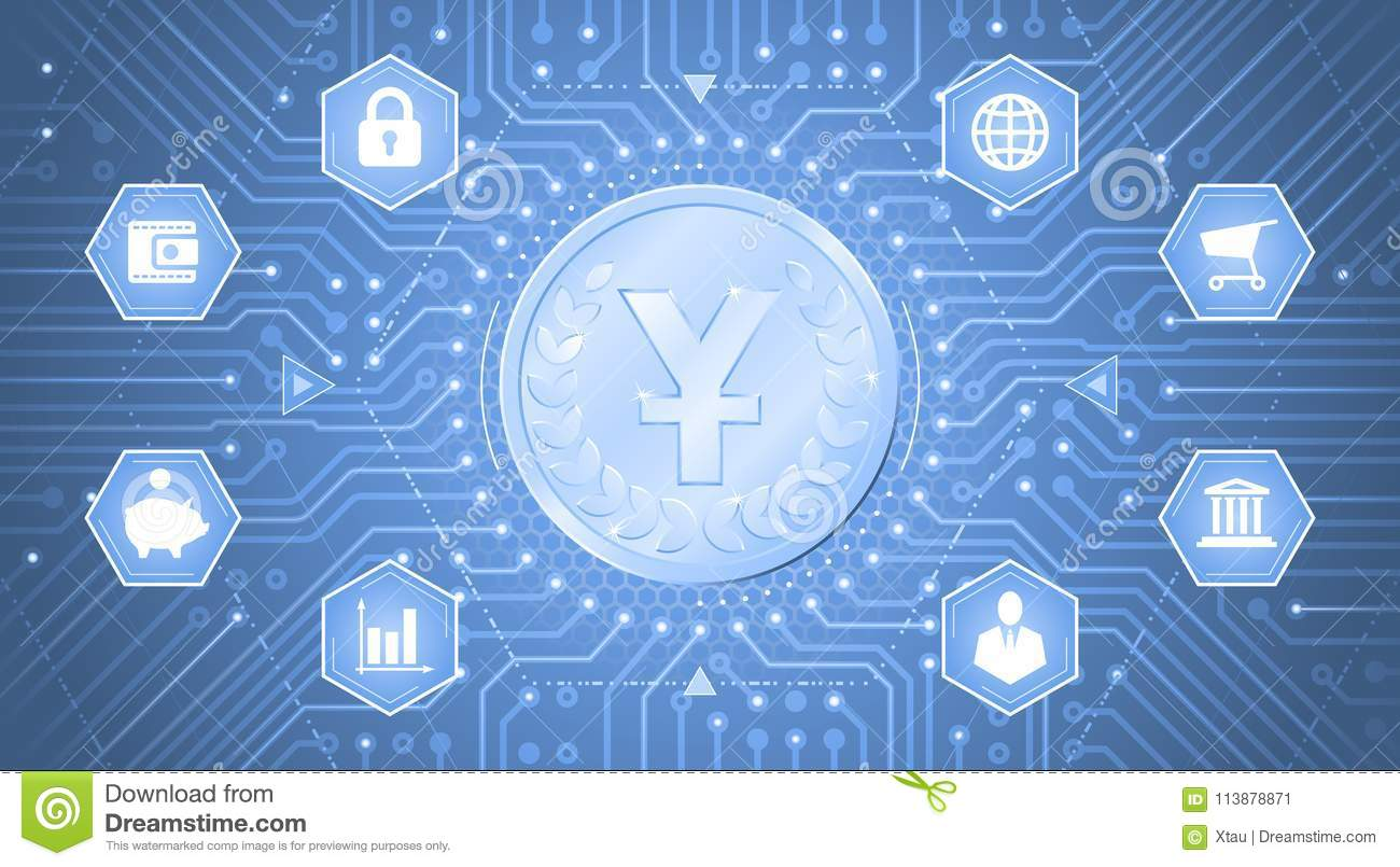 Digitalelectronic Currency Of Yuan Stock Vector Illustration Of