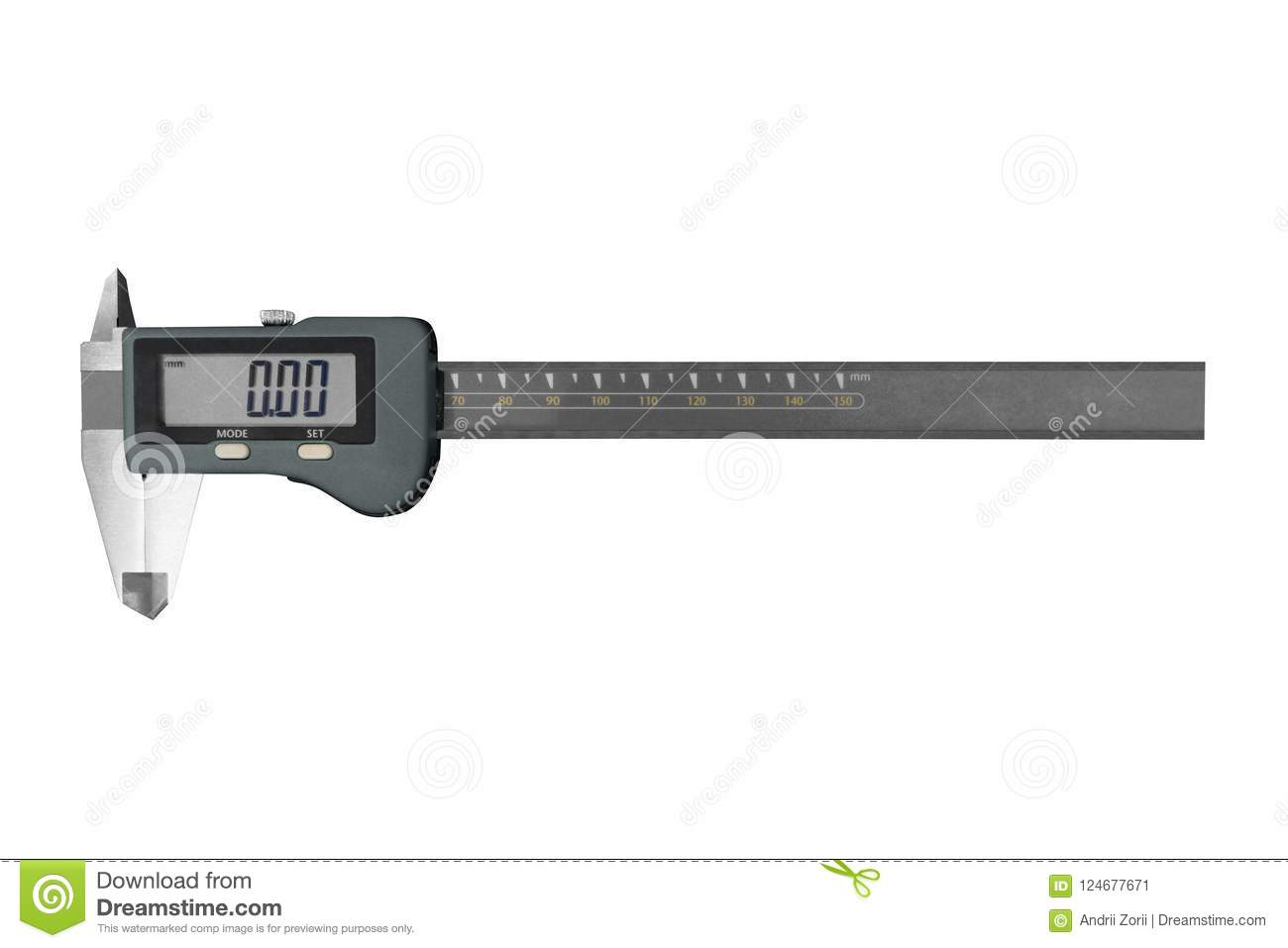 Digital electronic vernier caliper, isolated on white background. Electronic digital caliper on white background