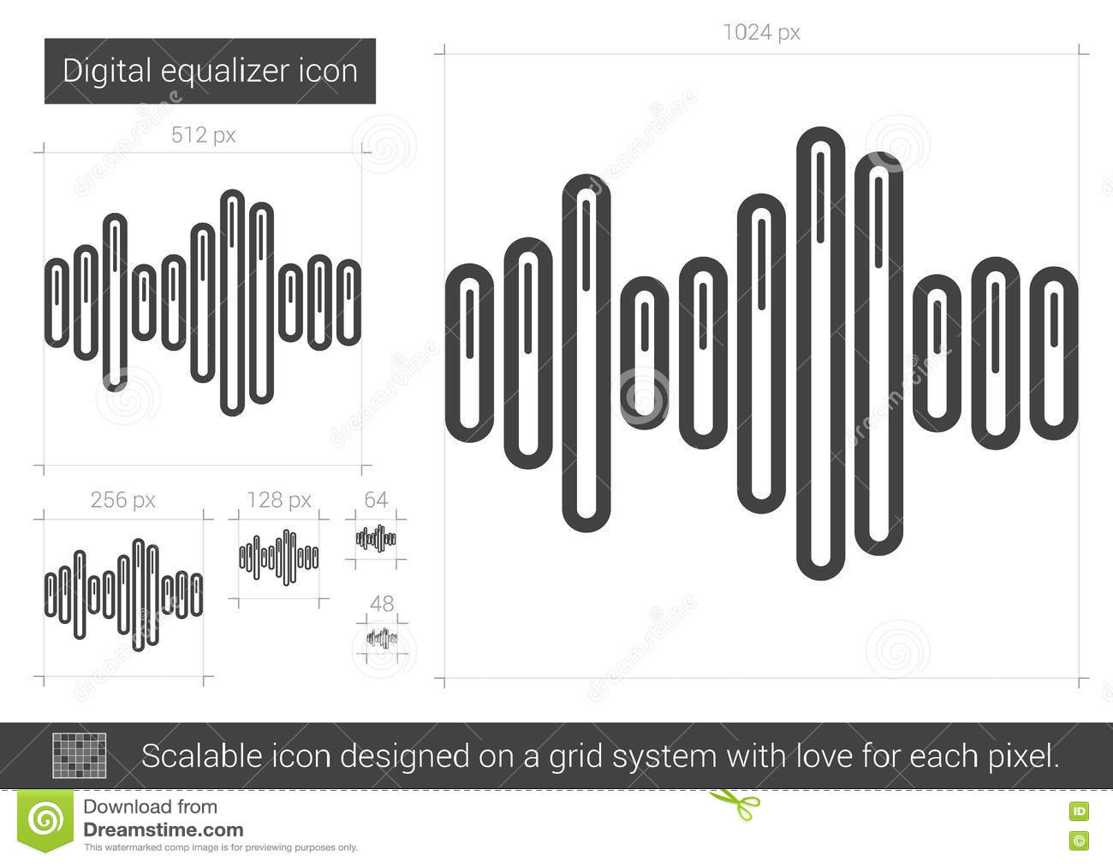 Digital Equalizer Line Icon  Stock Vector - Illustration of