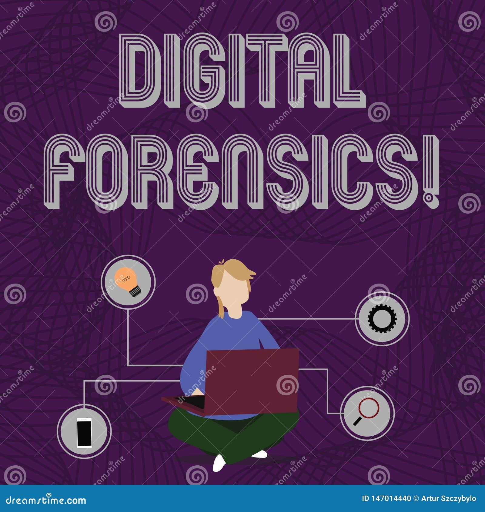 Digital f?r ordhandstiltext Forensics Affärsidé för utredning av material som finnas i digital apparatkvinna