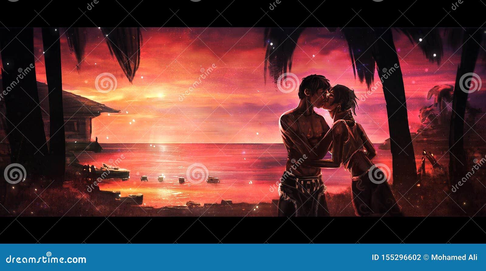 Digital-Farbe eines hawaiischen Paares, das auf Strand mit einer bunten Sonnenuntergang-Ansicht in Hintergrund küsst
