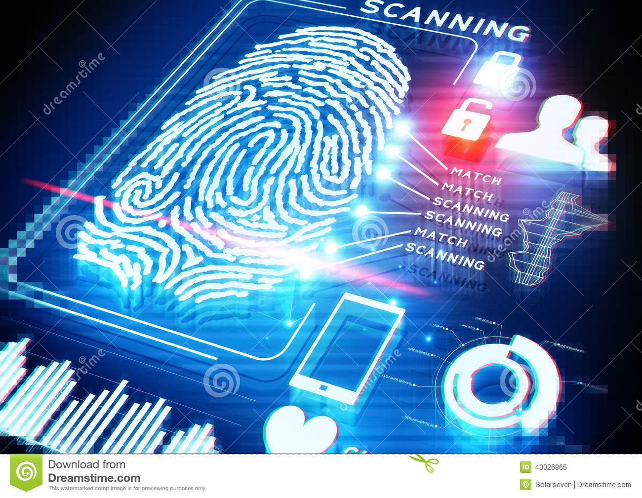 Digital Fingerprint Scanning Stock Image - Image: 40026865