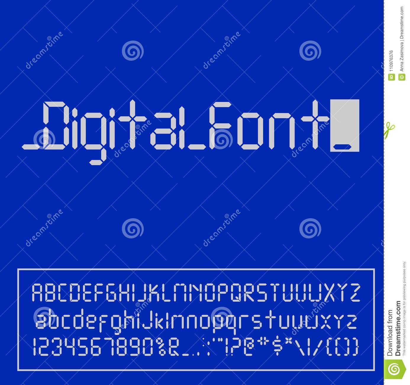 Digital Font  Alarm Clock Letters  Numbers And Letters Set