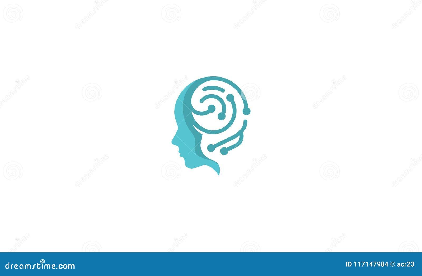 Digital-Gehirngesundheitslösungs-Vektorlogo