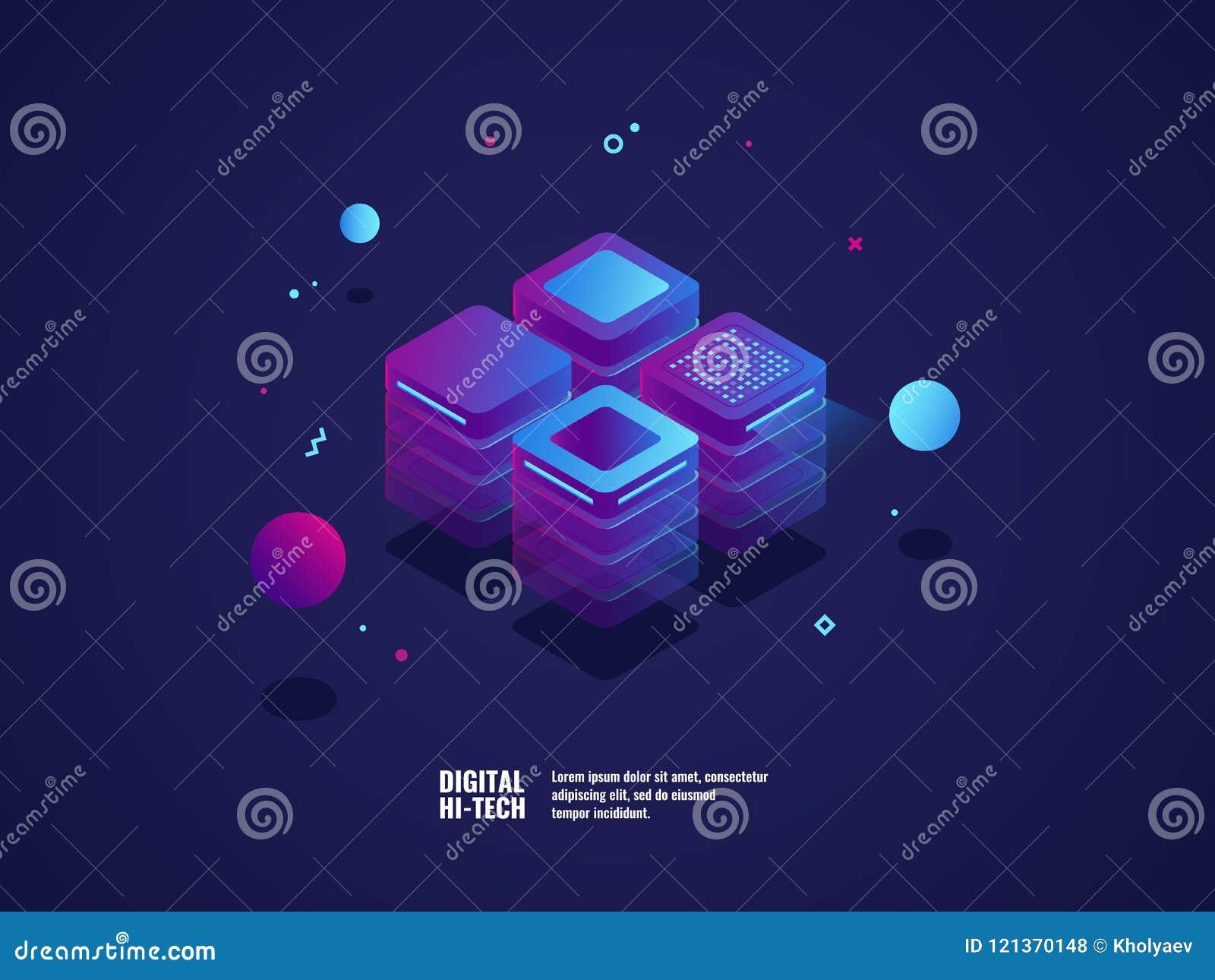 Digital-Geschäftskonzept, Serverraum, datacenter und Datenbankikone, Technologiegegenstand, Web-Hosting und Virtual Server