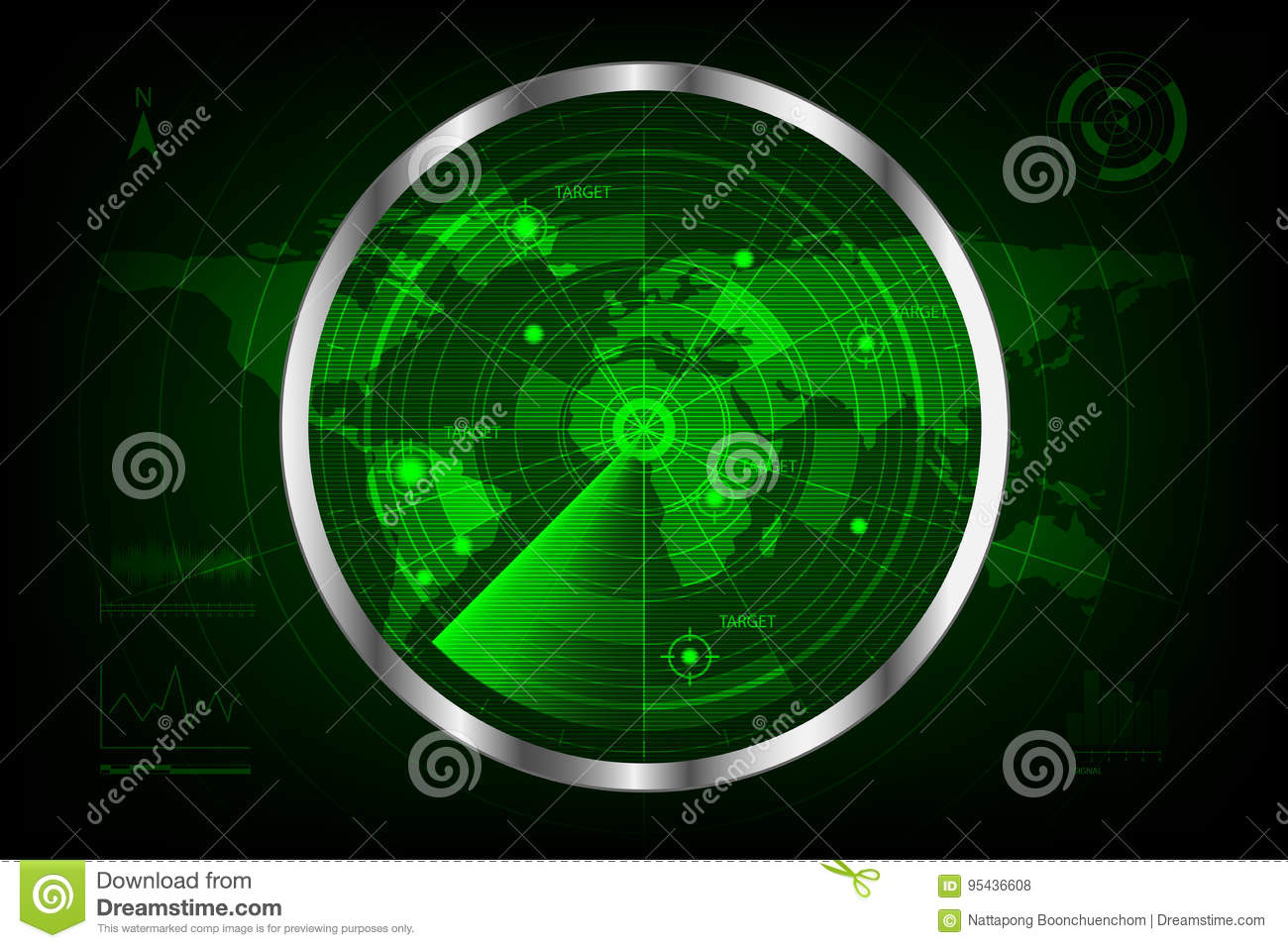 Digital green radar with targets and world map