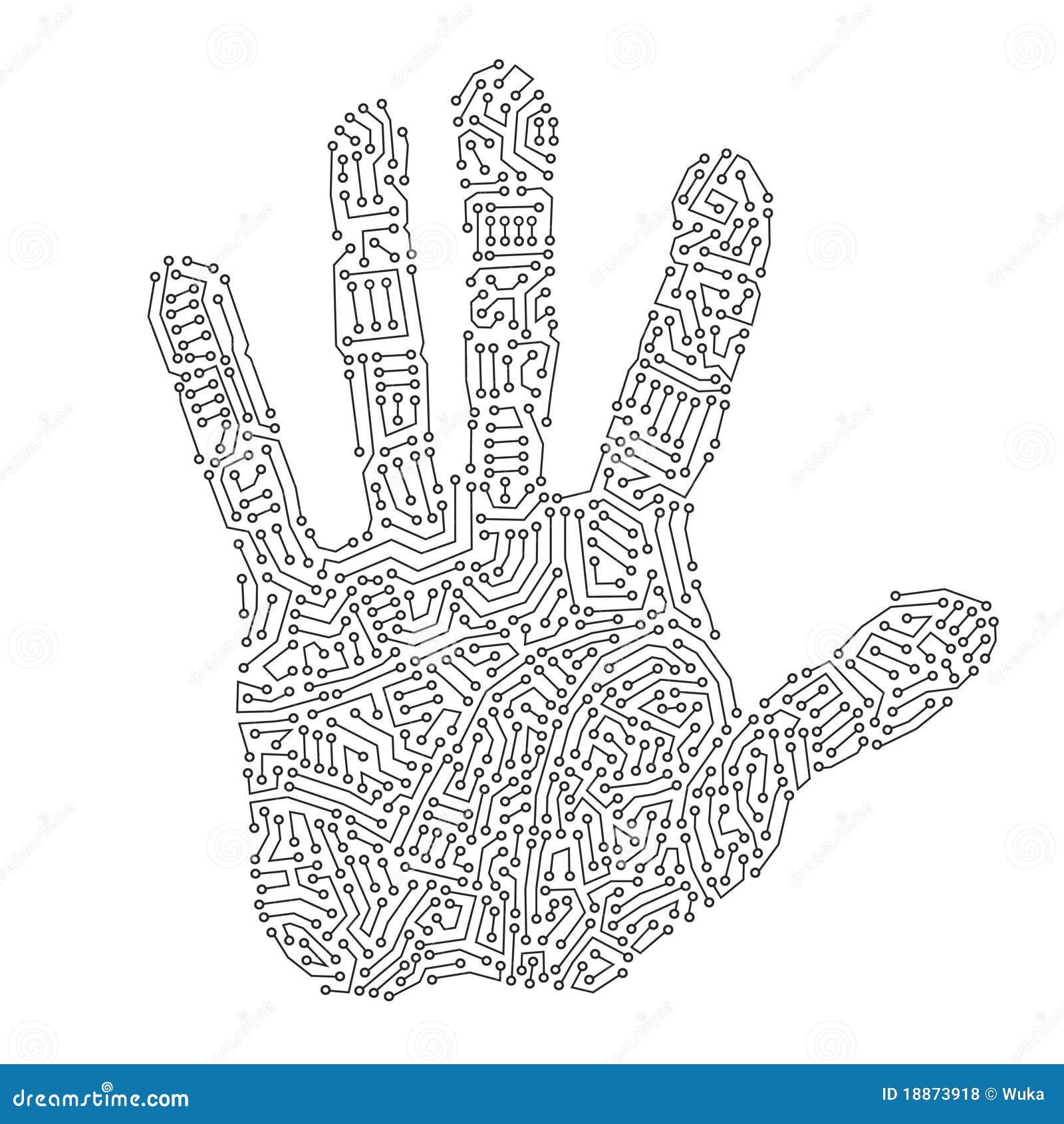 Digital Hand Print Stock Vector Illustration Of Sign 18873918
