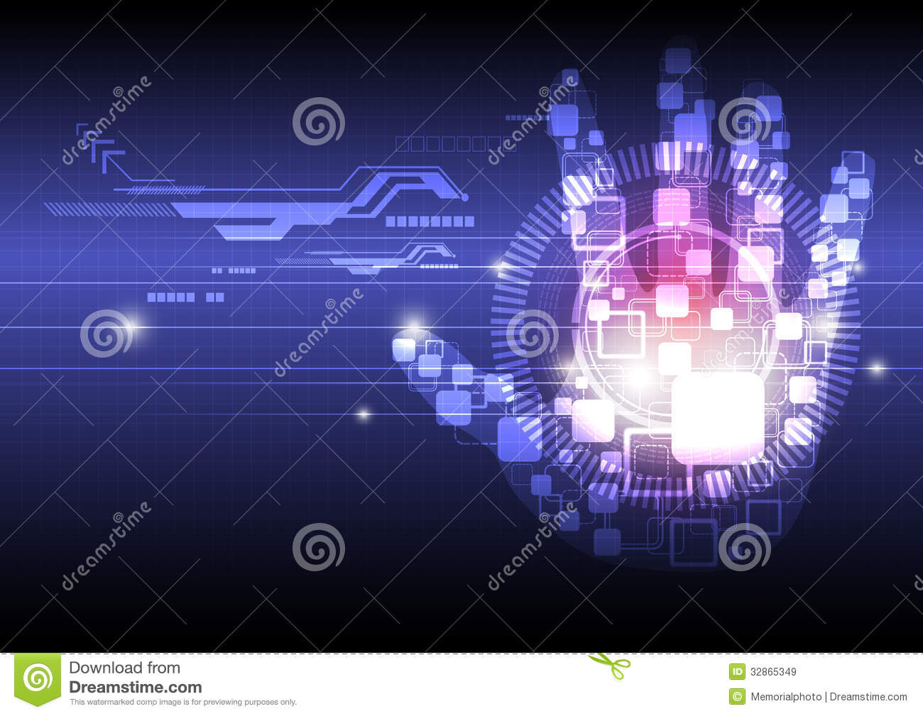 Digital hand technology background stock vector for Design teich