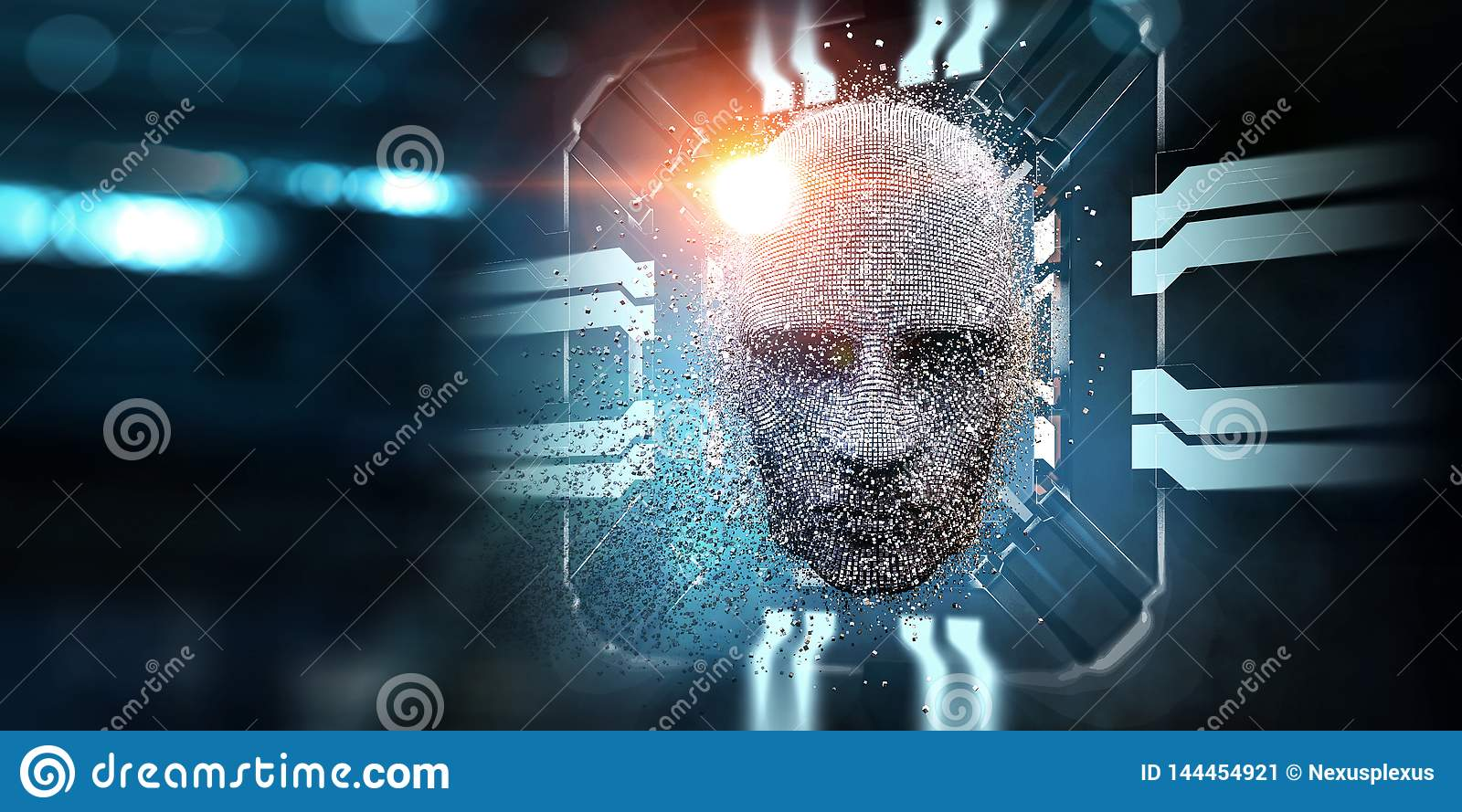 Digital head, artificial intelligence concept