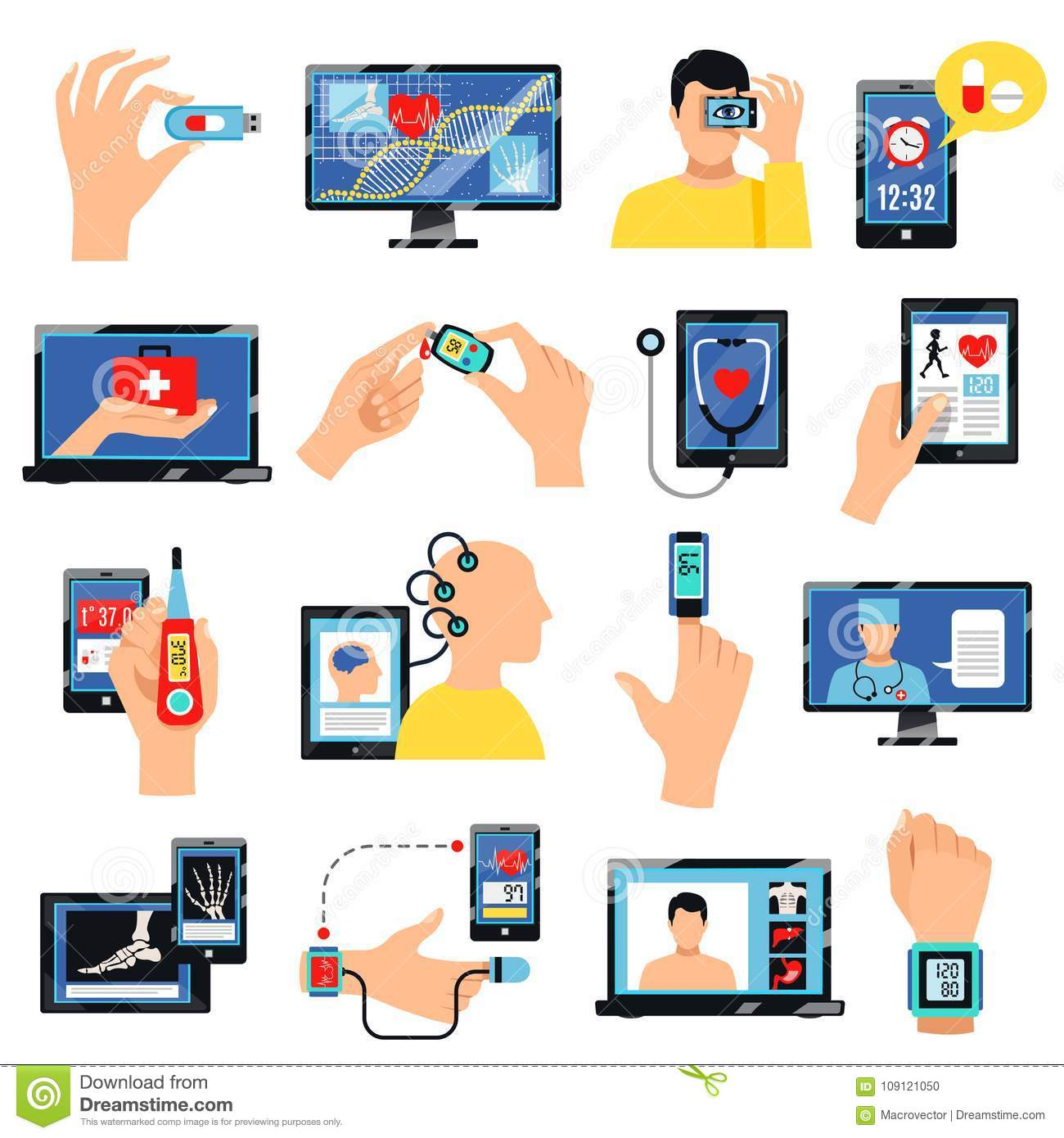 Health Info Site Online: Digital Healthcare Technology Icons Set Stock Vector