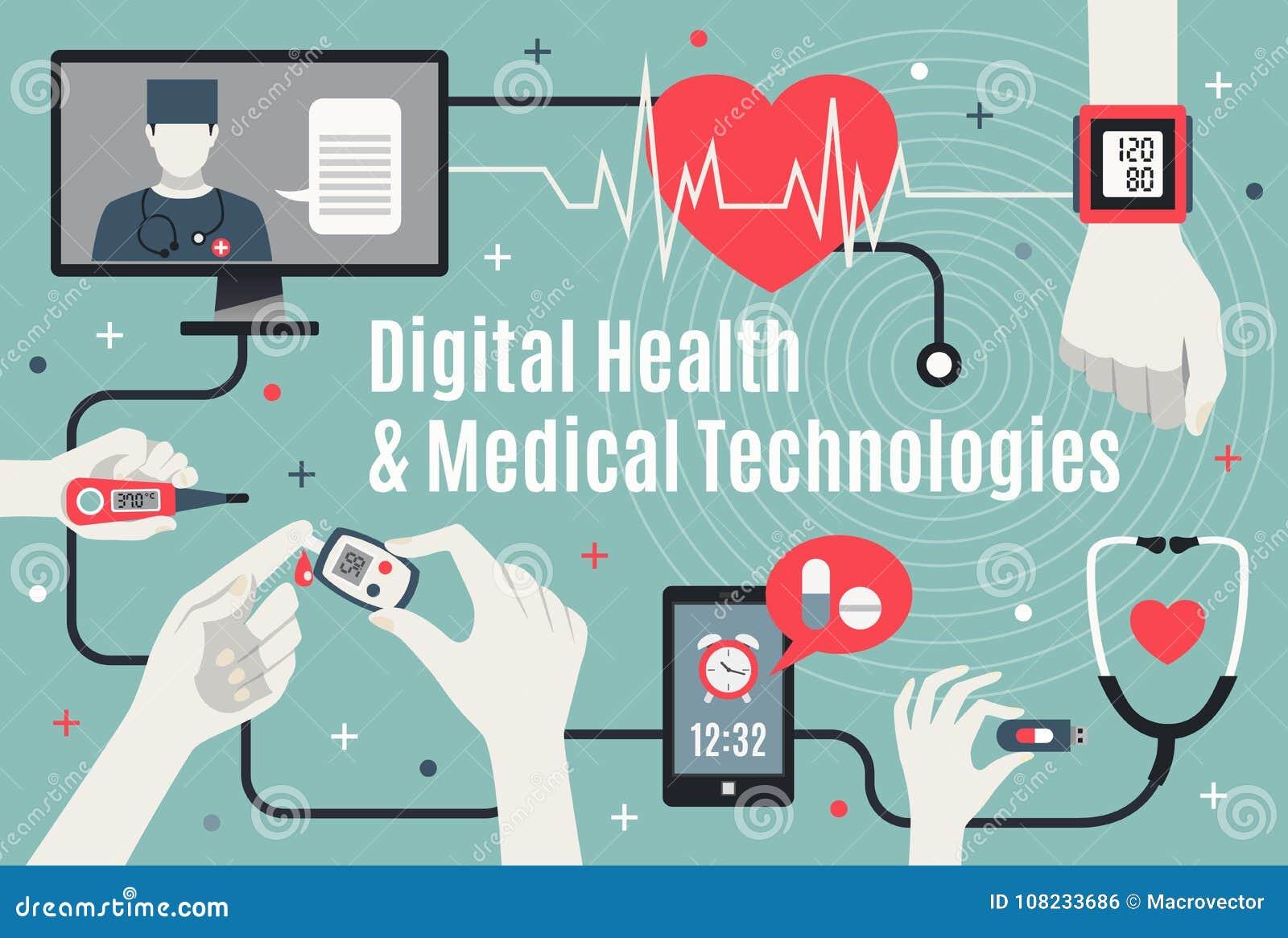 Digital Healthcare Technology Flat Poster