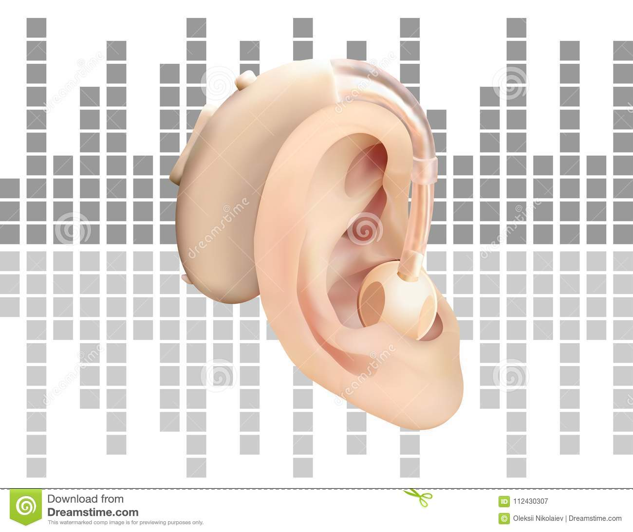 Digital Hearing Aid Behind The Ear, On The Background Of Sound Wave ...