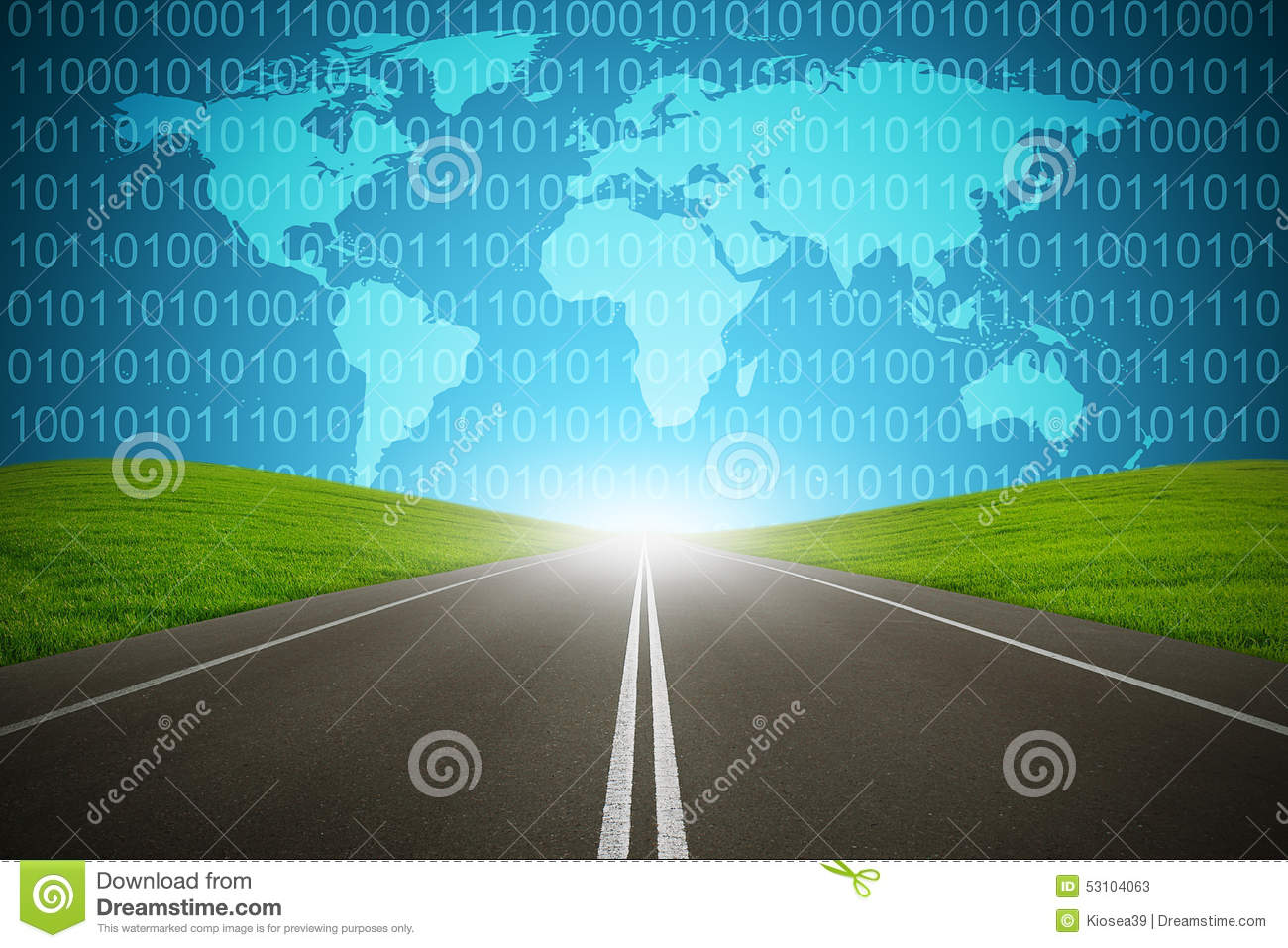 Digital Highway Binary Code Computer Network Internet