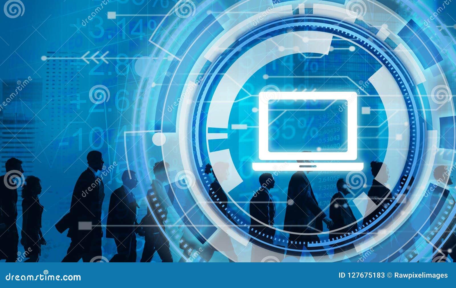 Digital Hud Interface Laptop Concept blu