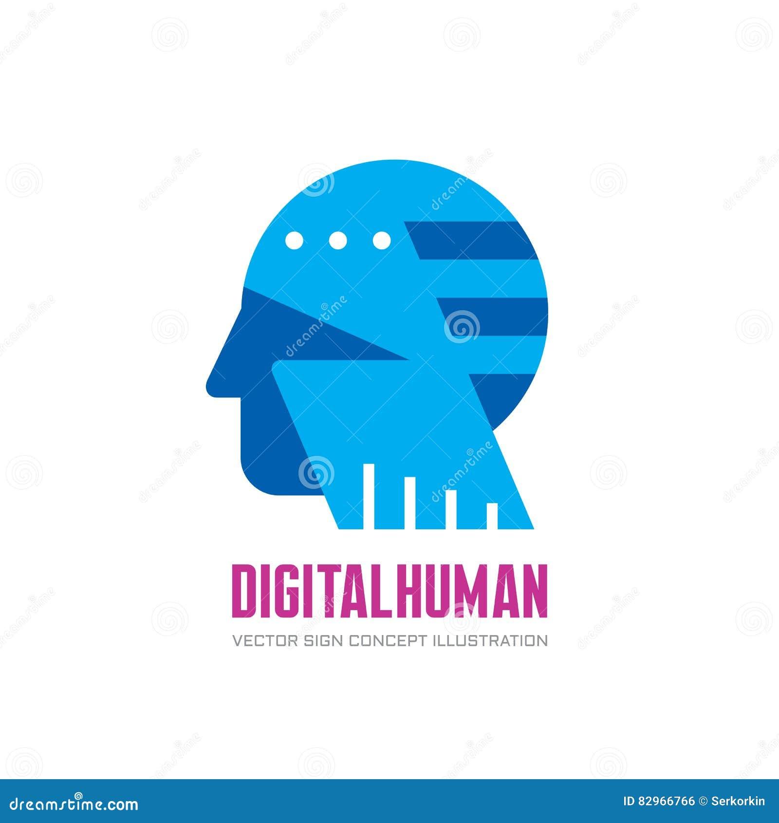 Digital human head vector logo concept illustration. Creative idea sign. Learning icon. People computer chip. Innovation tech.