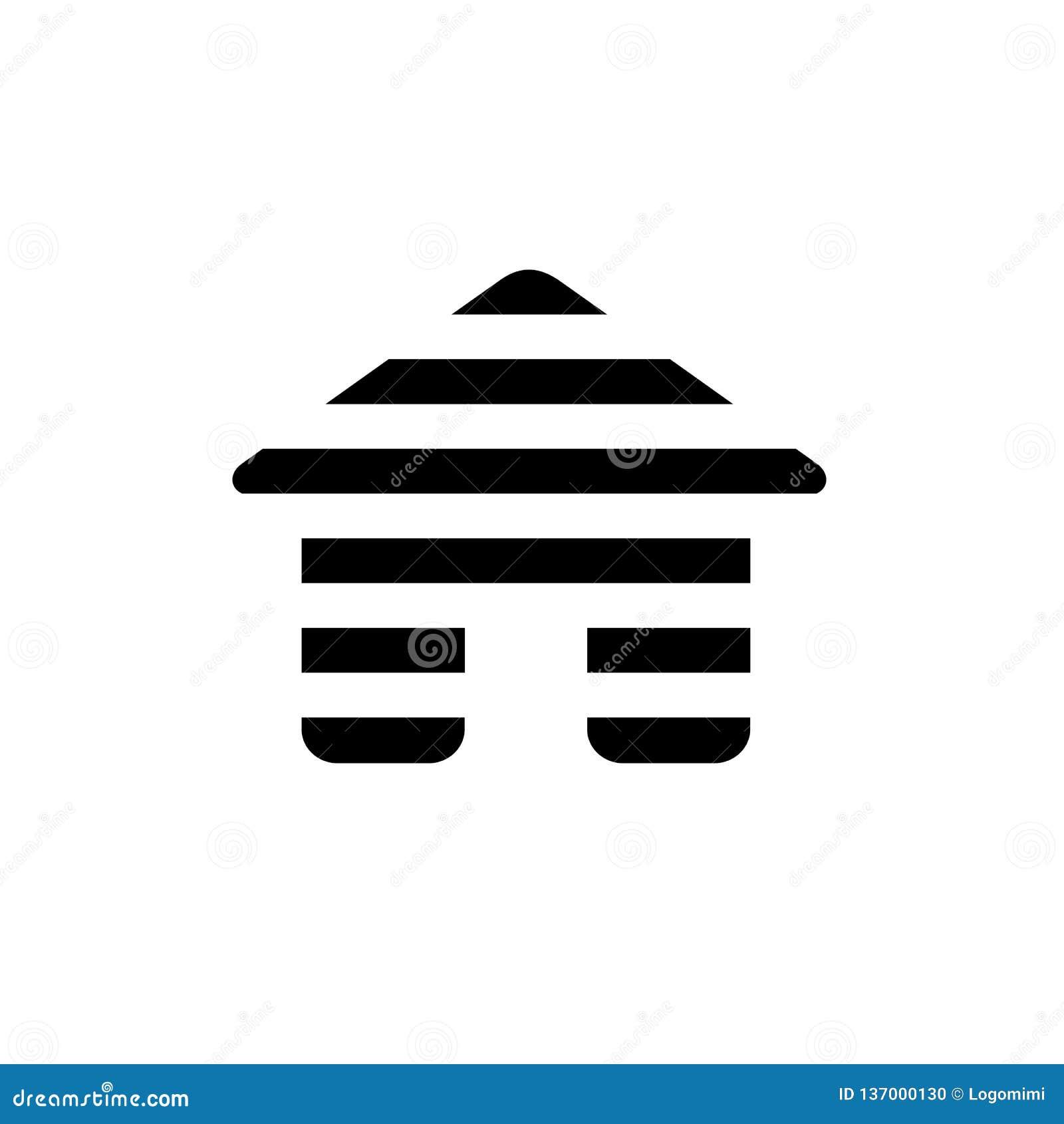 Digital hus Logo Icon, linje hem- symbol för lager, svart färgvektorillustration