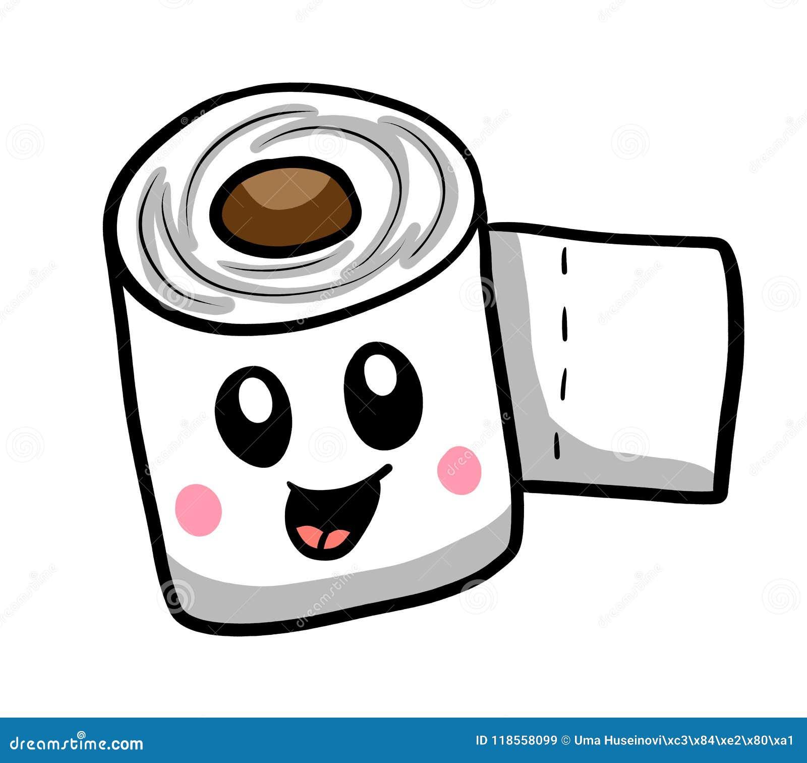 Happy Cartoon Toilet Paper stock illustration ...