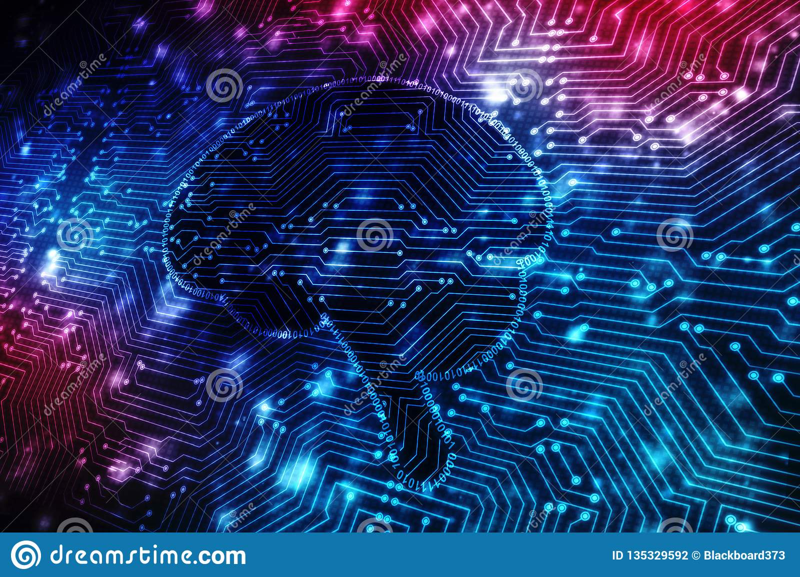 Digital illustration of Human brain structure, Creative brain concept background, innovation background