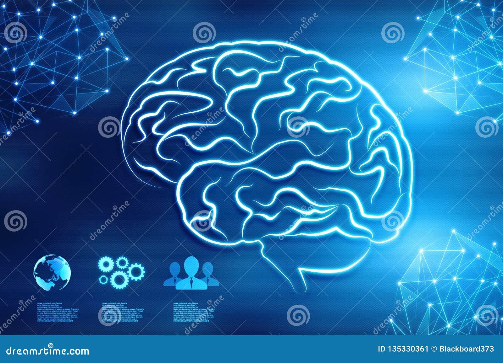 Digital illustration of Human brain structure, Creative brain concept background, innovation background