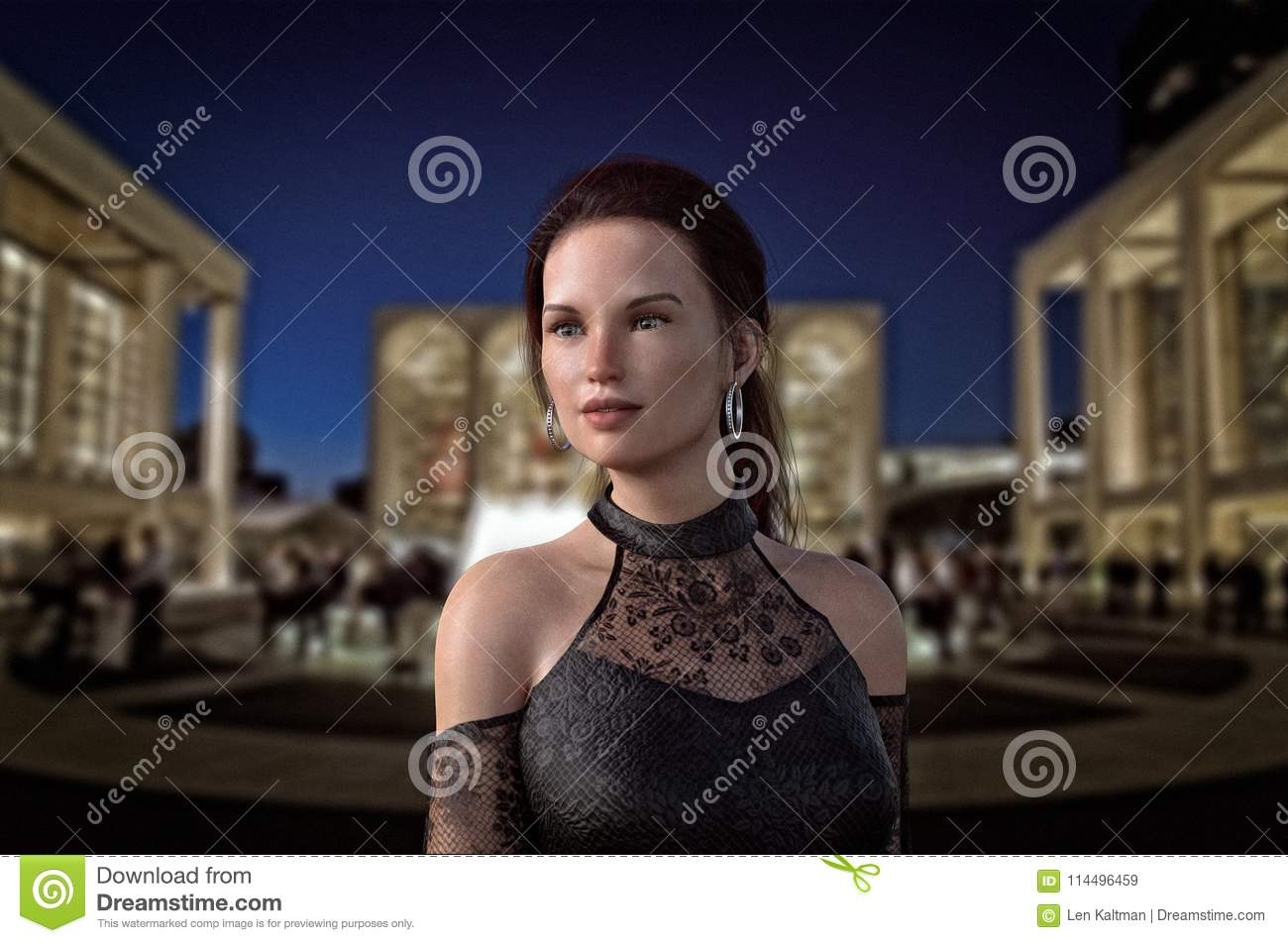 Woman in evening gown enjoying Lincoln Center at night